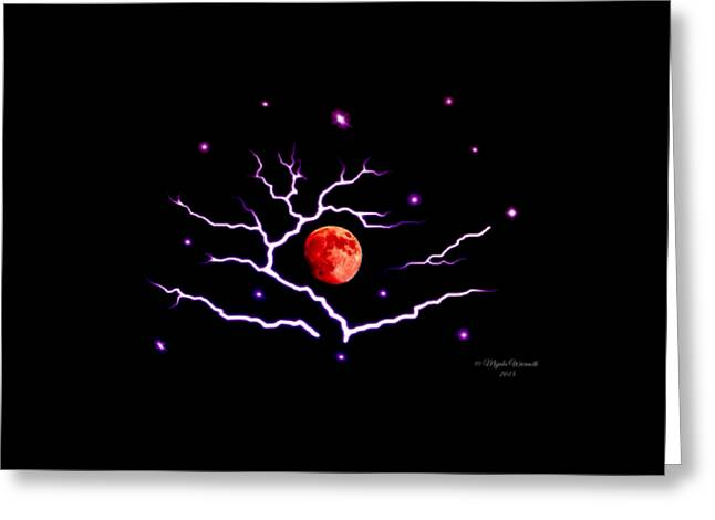 Storm Prints Digital Greeting Cards - Red Moon Greeting Card by Majula Warmoth