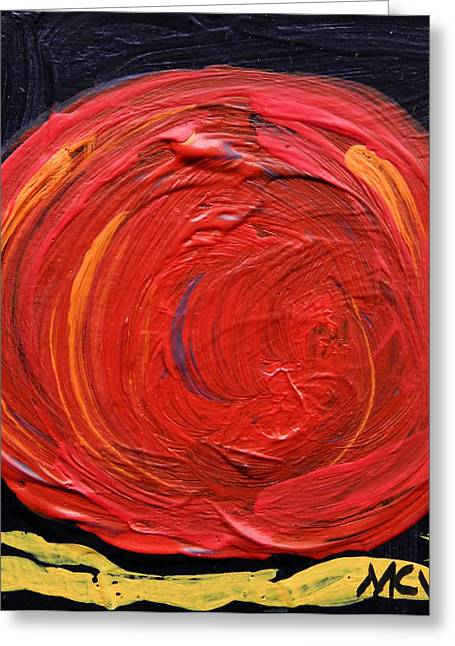 Visionary Artist Greeting Cards - Red Moon on Black Greeting Card by Mary Carol Williams