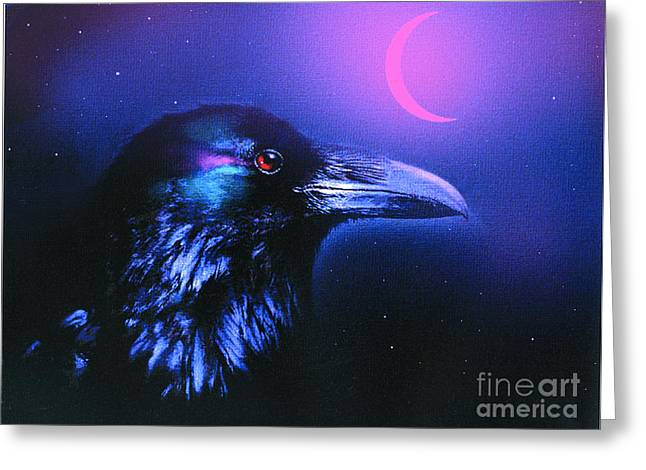 Robert Foster Greeting Cards - Red Moon Raven Greeting Card by Robert Foster