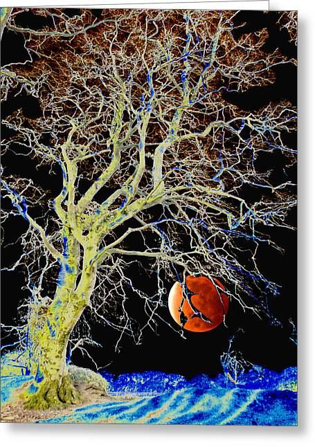 The Houses Greeting Cards - Red Moon Rising Greeting Card by Dave Byrne