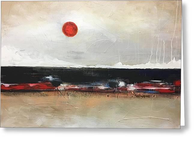 Red Moon Greeting Card by Vital Germaine
