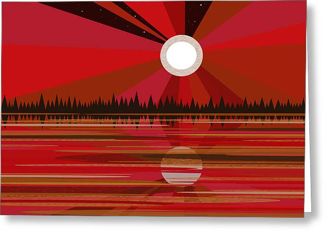 Red Moonshine Greeting Card by Val Arie