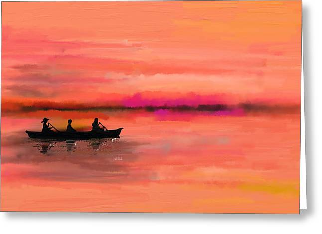 Ocean Panorama Greeting Cards - Red Morning Spin Greeting Card by Angela A Stanton