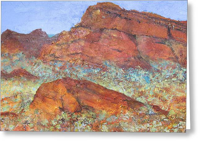 Desert Land Greeting Cards - Red Mountain Greeting Card by Margaret Coxall