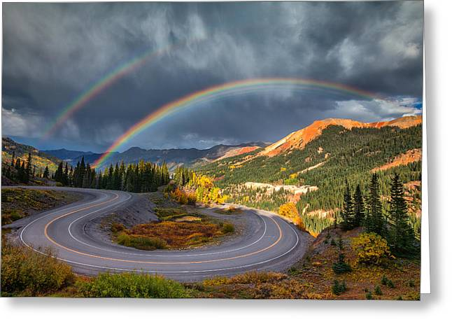 Double Rainbow Greeting Cards - Red Mountain Rainbow Greeting Card by Darren  White