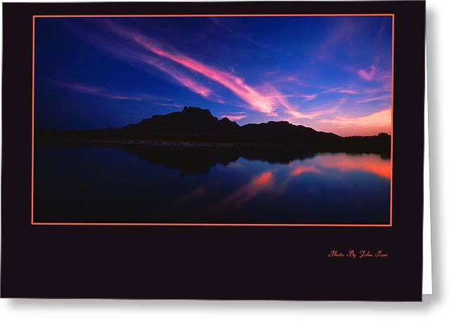Layers Greeting Cards - Red Mountain Sunrise Along  the Salt River Framed Greeting Card by John Tarr Photography  Visual Adventurer