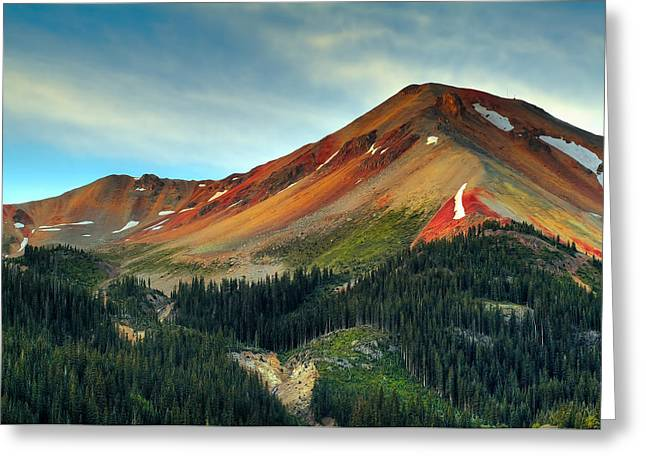 Mountain Pass Greeting Cards - Red Mountain Greeting Card by Tim Reaves