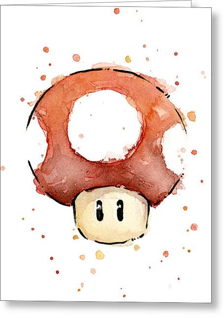 Game Mixed Media Greeting Cards - Red Mushroom Watercolor Greeting Card by Olga Shvartsur