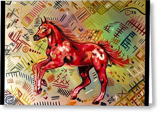 Red Abstracts Greeting Cards - Red Mustang  Greeting Card by Eli  Farias