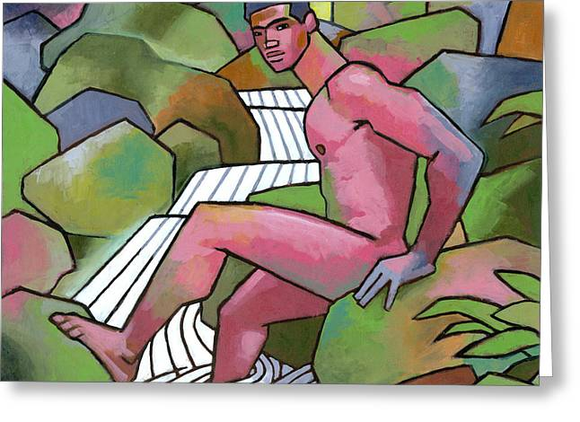 Gay Art Greeting Cards - Red Nude on Mossy Rocks Greeting Card by Douglas Simonson