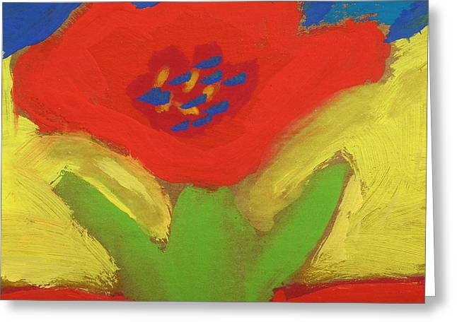 Mcw Greeting Cards - Red Number 1 Greeting Card by Mary Carol Williams