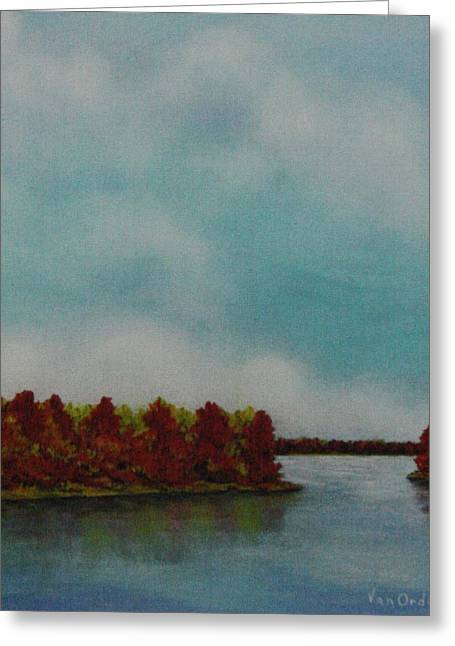 Best Sellers -  - Reflections Of Trees In River Greeting Cards - Red Oaks On The River Greeting Card by Richard Van Order