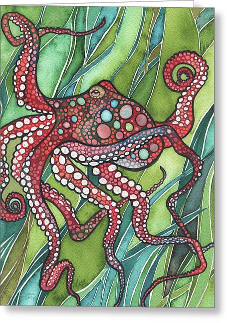 Red Octo Greeting Card by Tamara Phillips