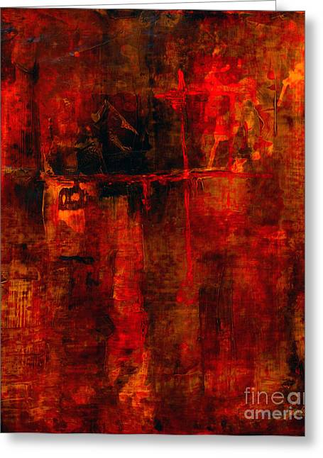 Prints Abstract Greeting Cards - Red Odyssey Greeting Card by Pat Saunders-White