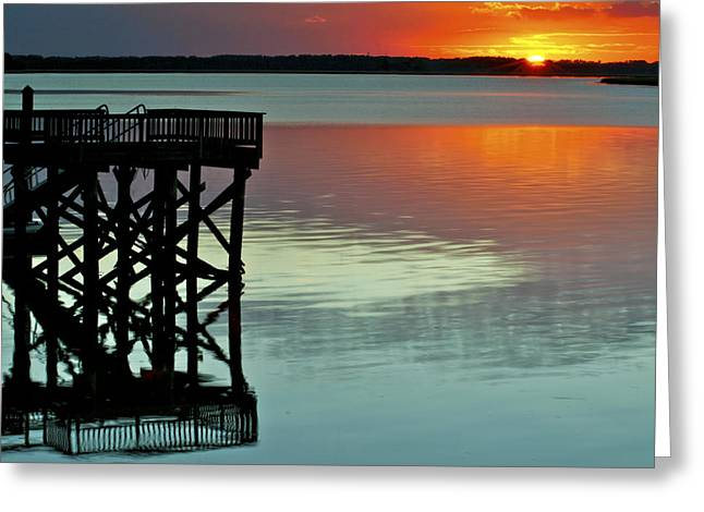Sunset Framed Prints Greeting Cards - Red on Teal Greeting Card by Phill  Doherty