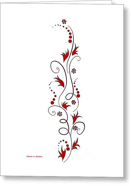 Flower Design Greeting Cards - Red on White Floral Design Greeting Card by Sharon K Shubert