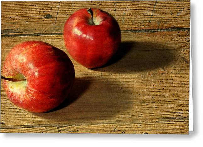 Shadows On Apples Greeting Cards - Red on Wood Greeting Card by Diana Angstadt