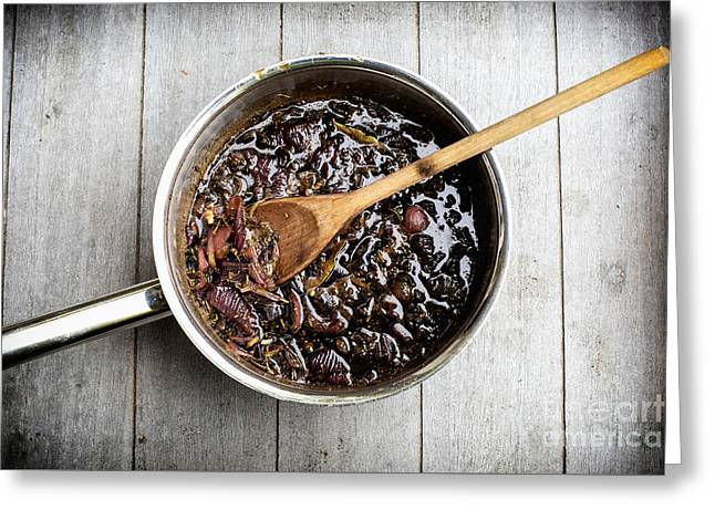 Red Onion Chutney Greeting Card by Patricia Hofmeester