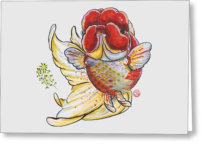 Oranda Greeting Cards - Red Oranda Greeting Card by Shih Chang Yang