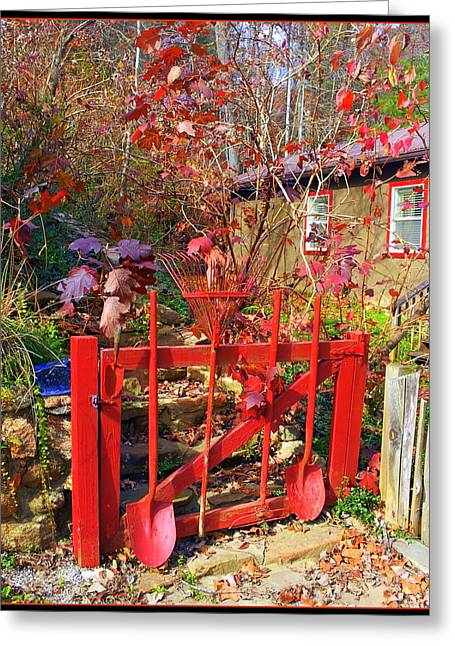 Stepping Stones Greeting Cards - Red Orange Garden Gate Greeting Card by Carla Parris