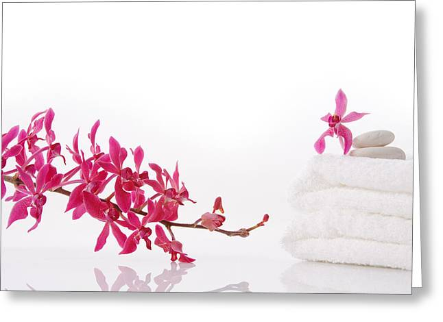 Healthy-lifestyle Greeting Cards - Red Orchid With Towel Greeting Card by Atiketta Sangasaeng