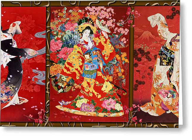 Trio Greeting Cards - Red Oriental Trio Greeting Card by Haruyo Morita