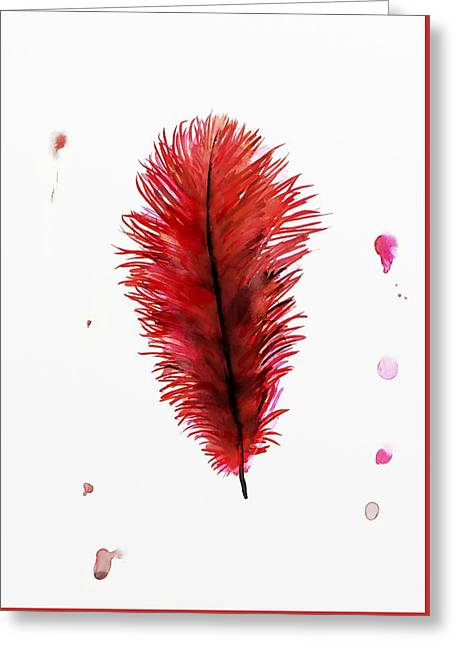 Ostrich Feathers Greeting Cards - Red Ostrich Feather Greeting Card by Richard Seanor