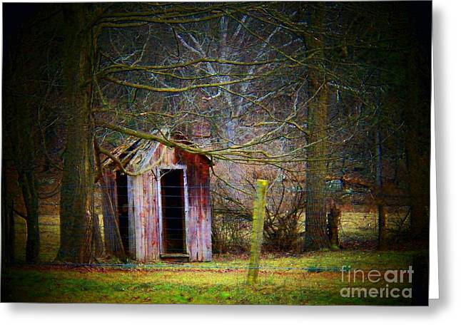 Allegheny Greeting Cards - Red Outhouse Greeting Card by Joyce Kimble Smith
