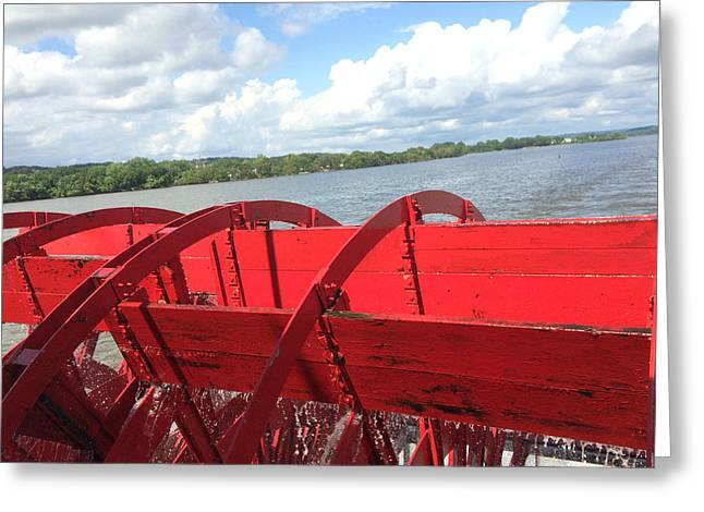 Lace Trim Greeting Cards - Red Paddlewheels Over Illinois River Greeting Card by Kathy Krause