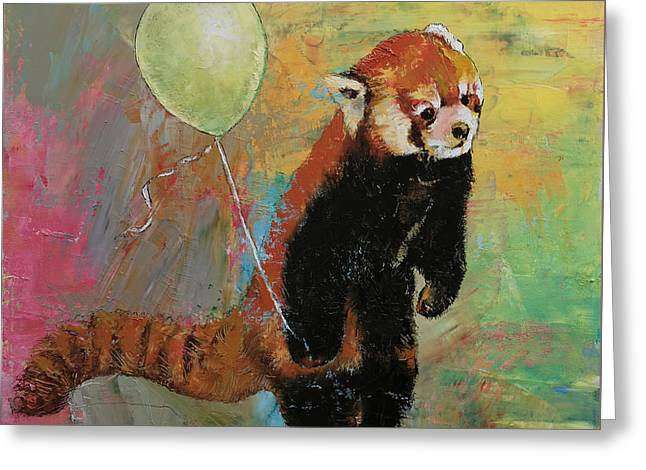 Parties Greeting Cards - Red Panda Balloon Greeting Card by Michael Creese