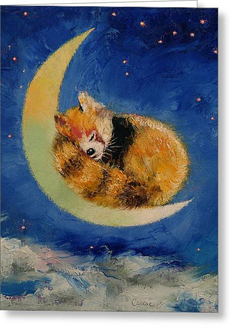 Red Panda Dreams Greeting Card by Michael Creese