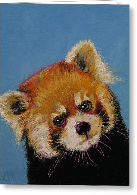 Climb Tree Greeting Cards - Red Panda Greeting Card by Michael Creese