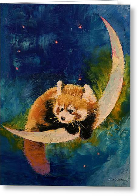 Blue Panda Greeting Cards - Red Panda Moon Greeting Card by Michael Creese