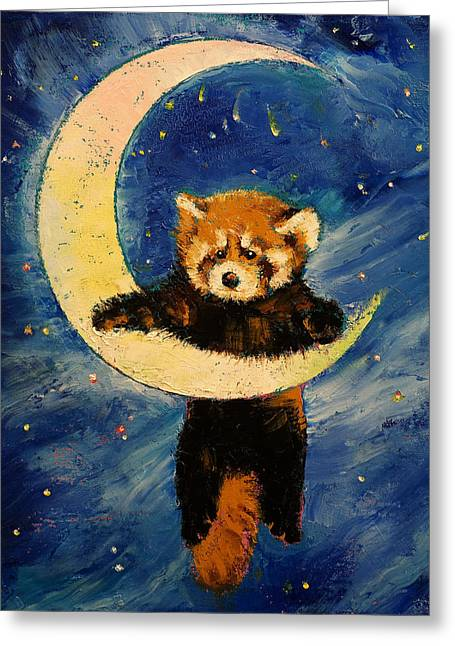 Red Panda Stars Greeting Card by Michael Creese