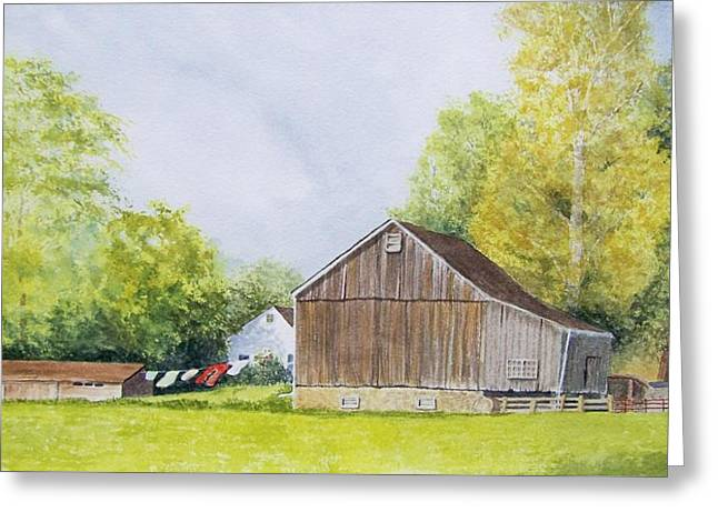 Solebury Farm Greeting Cards - Red Pants Greeting Card by Denise Harty