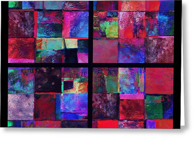 Red Patchwork - Abstract Art  Greeting Card by Ann Powell