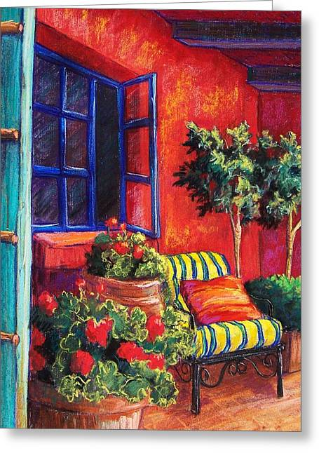Window Pastels Greeting Cards - Red Patio Greeting Card by Candy Mayer