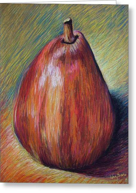 Red Pear Greeting Card by Hillary Gross