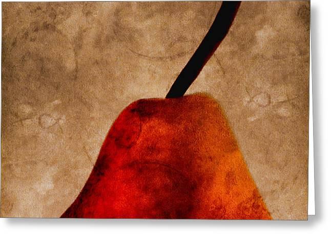 Red Pear III Greeting Card by Carol Leigh