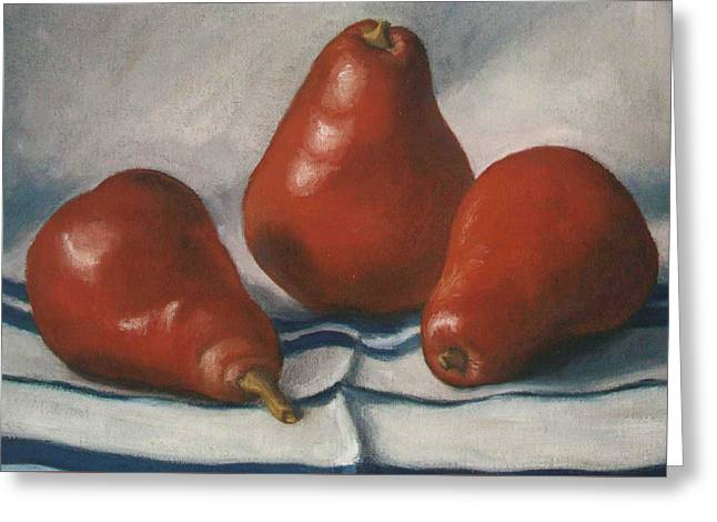 4th July Paintings Greeting Cards - Red Pears Greeting Card by Ruth Soller