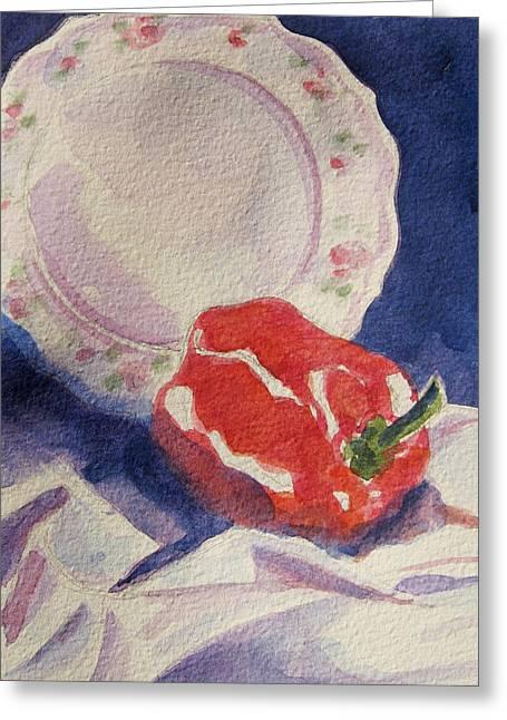 Pepper Greeting Cards - Red Pepper Greeting Card by Marsha Elliott