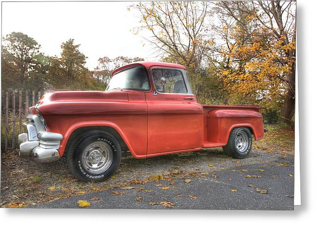 Red Pick-up Greeting Card by Steve Gravano