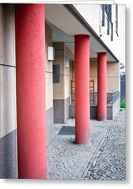 Red Pillars Greeting Card by Tom Gowanlock