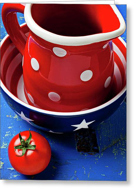 Red Pitcher And Tomato Greeting Card by Garry Gay