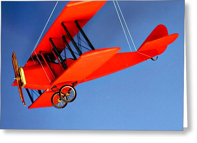 Hanging Mobile Greeting Cards - Red Plane on Blue Greeting Card by Art Block Collections