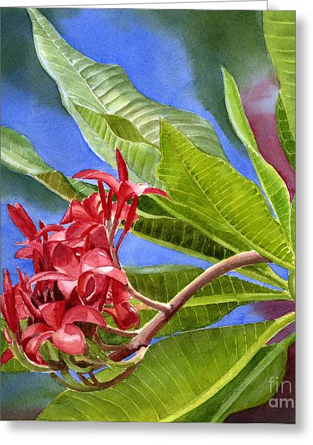 """tropical Trees"" Greeting Cards - Red Plumeria Blossoms with Colorful Background Greeting Card by Sharon Freeman"