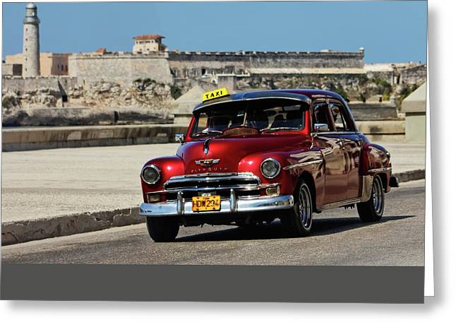 Red Plymouth In Havana Greeting Card by Dawn Currie