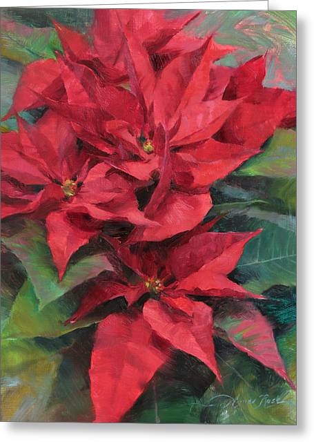 Red Poinsettias Greeting Card by Anna Rose Bain