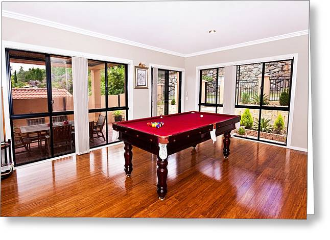 Sliding Glass Door Greeting Cards - Red Pool Table Greeting Card by Darren Burton