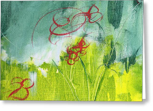 Pallet Knife Greeting Cards - Red Pop Floral 1 Greeting Card by Lauryn Vacey